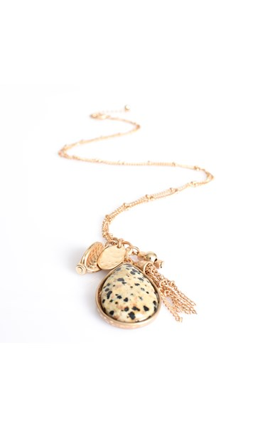 Stone Teardrop Cluster Necklace