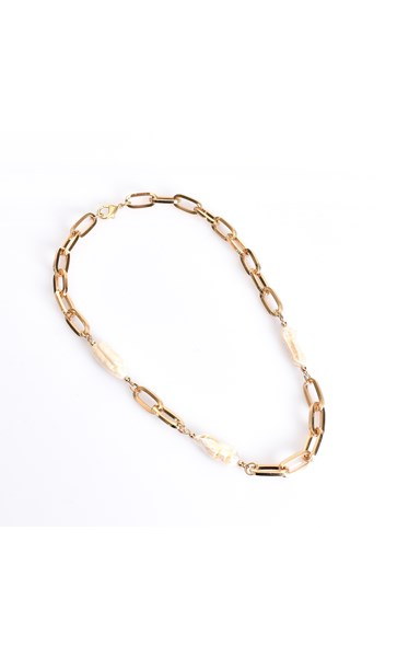 Chain Link and Long Pearl Short Necklace