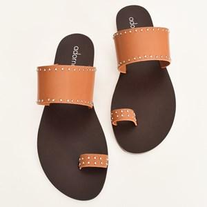 Calypso Stud Toe Strap Slides Size 38