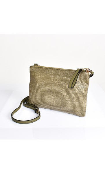 Faux Weave Cross Body Bag