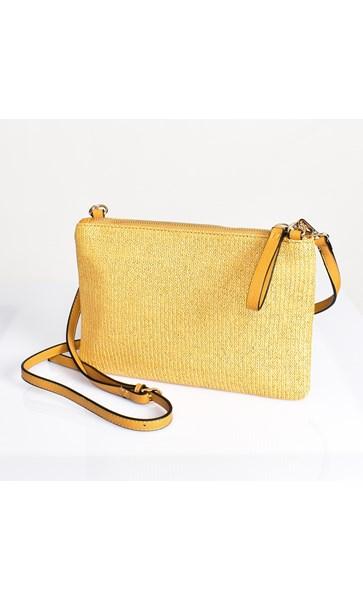 Faux Weave Cross Body Bag