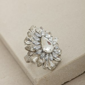 Jewelled Teardrop Flower Cocktail Ring