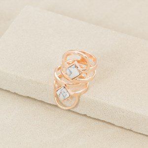 Two Set Stone & Metal Cutout Rings