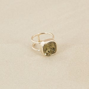 Rounded Square Jewel Ring