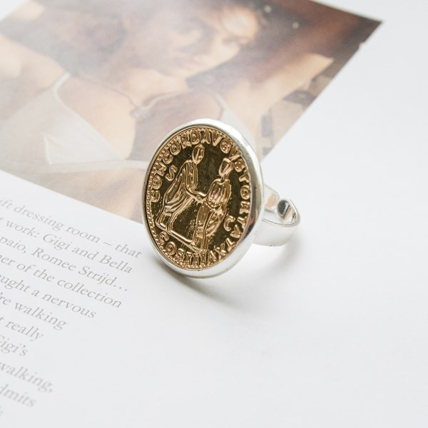 Large Coin Two Tone Adjustable Ring