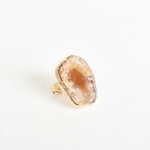Edged Adjustable Agate Ring