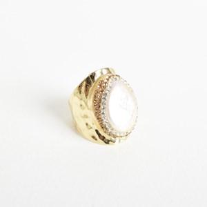 Pearl Diamante Edge Dress Ring