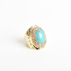 Stone Diamante Edge Dress Ring