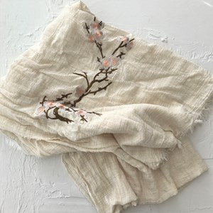 Embroidered Blossom Linen Blend Scarf