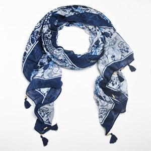 China Blue Tassel Edge Scarf