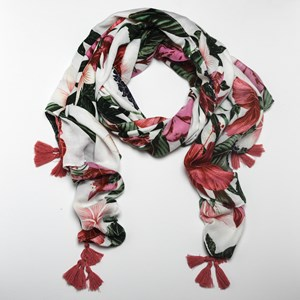 Tropical Hibiscus Print Tassel Corner Scarf