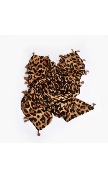 Tassel Edge Leopard Scarf