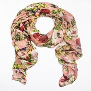 Rose Print Faux Silk Scarf