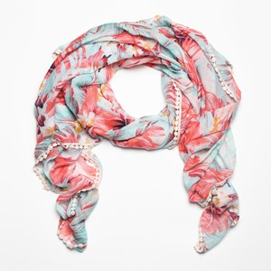 Tropical Lace Edge Cotton Rayon Scarf