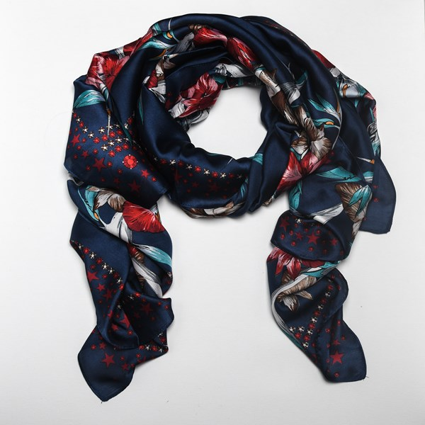 Birds of Paradise & Orchids Faux Silk Scarf