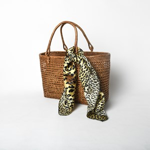 Bordered Leopard Print Faux Silk Scarf