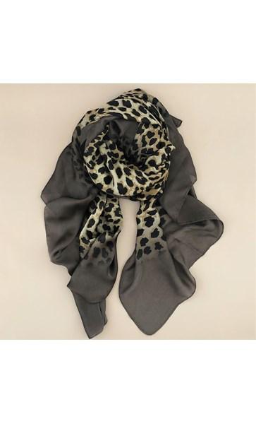 Silk Bordered Leopard Scarf