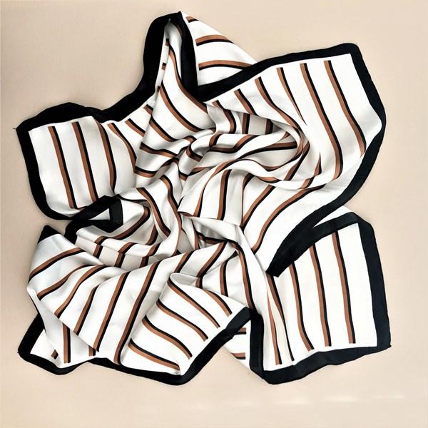 Contrast Stripe Faux Silk Square Scarf