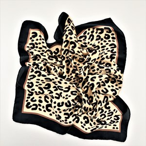Bordered Leopard Print Faux Silk Square Scarf
