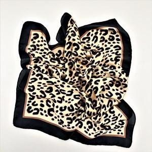 Bordered Leopard Print Faux Silk Square Scarf