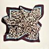 Bordered Leopard Print Faux Silk Square Scarf - pr_60886