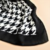 Houndstooth Trim Faux Silk Square Scarf - pr_61511