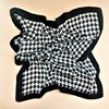 Houndstooth Trim Faux Silk Square Scarf - pr_61512