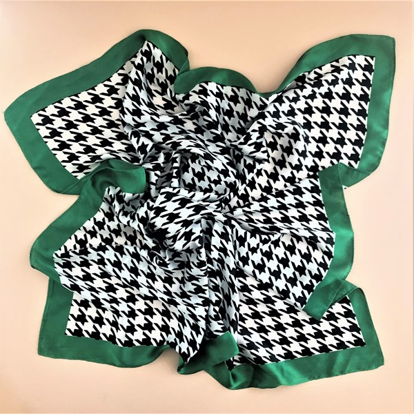 Houndstooth Trim Faux Silk Square Scarf