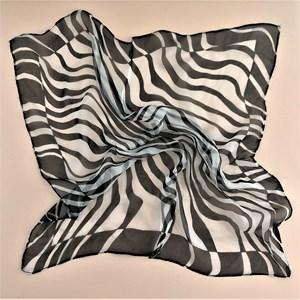 Contrast Zebra Print Silk Square Scarf