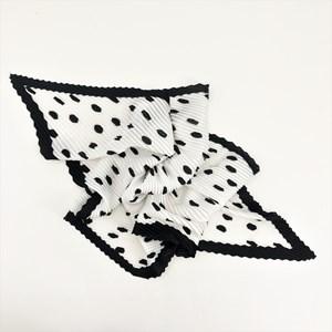 Pleated Polka Dot Faux Silk Scarf