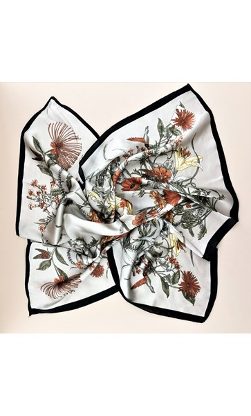 Moody Garden Print Faux Silk Square Scarf