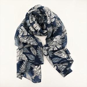 Tropical Leaf Print Cotton Scarf