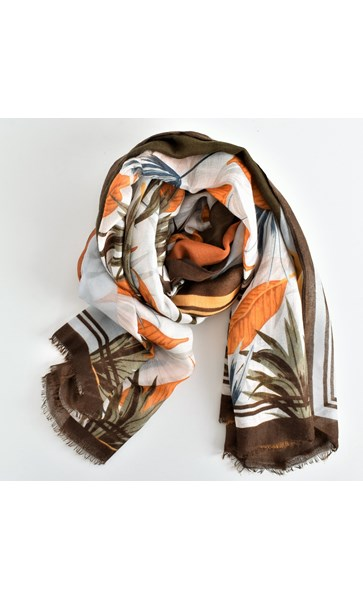 Falling Leaves Bordered Lightweight Scarf