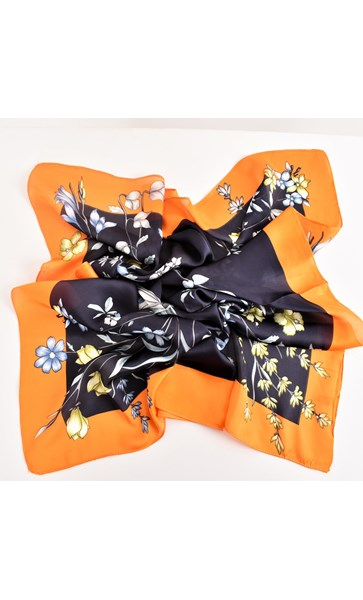 Bordered Florals Faux Silk Square Scarf