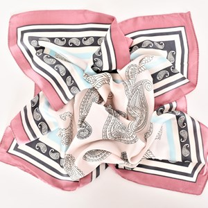 Paisley Bordered Faux Silk Square Scarf