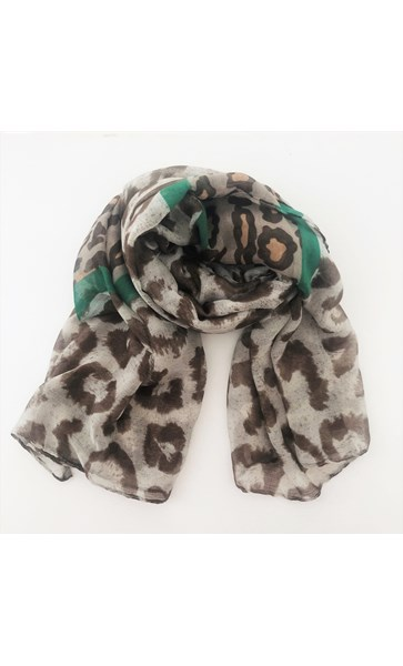 Contrast Leopard Print Band Cotton Scarf