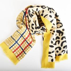 Leopard & Tartan Contrast Rectangle Scarf