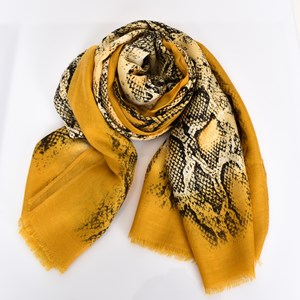 Bordered Reptile Print Lightweight Scarf