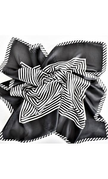 Faux Silk Stripe Bordered Square Scarf
