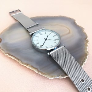 Wide Mesh Band Watch