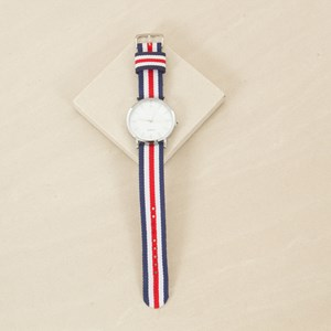 Striped Grograin Band Watch