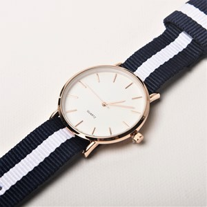 Striped Webbing Band Watch