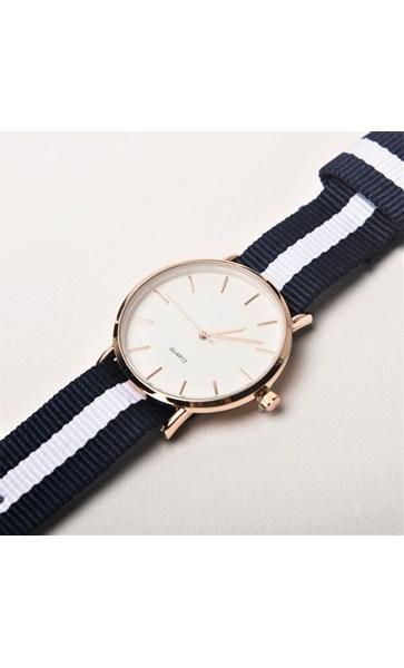 Striped Webbing Band Watch