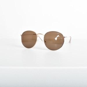 5003A Light Gold Frame Round Sunglasses