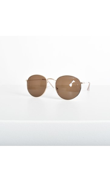 5003E Light Gold Frame Round Sunglasses