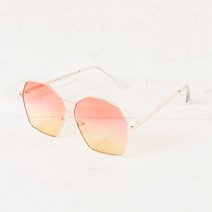 5076AO Large Shaped Metal Frame Sunglasses