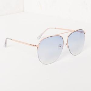 5083D Blue Half Metal Frame Aviator Sunglasses