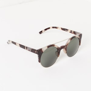 7458F Beige Marble Half Resin Frame Sunglasses