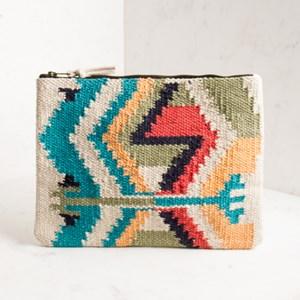 Aztec Print Durry Fabric Zip Top Clutch
