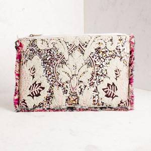 Floral Sequin & Bead Fringe Edge Clutch